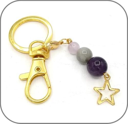 Porte clés doré pierre naturelle et breloque acier doré - 6 Modèles modifiables