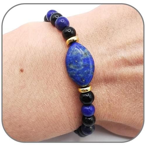 Bracelet Œil de cheval Lapis Lazuli et Obsidienne