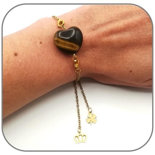 Bracelet coulissant Acier doré Pierre naturelle interchangeable, breloques Trèfle et Couronne