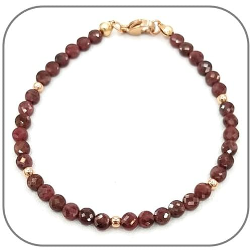 Bracelet Grenat Pierre semi-précieuse Monture acier doré, argent ou or rose