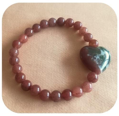 Bracelet Cœur Agate et Aventurine pourpre