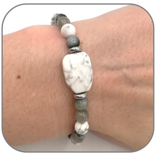 Bracelet Clarté de l'esprit et Discernement Howlite, Oeil d'aigle et Labradorite