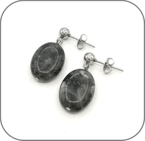 Boucles d'oreilles Acier ou argent 925 et Pierre Ovale Labradorite