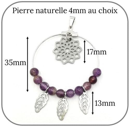 Pendentif Acier Attrape rêve pierre naturelle 4mm, Fleur de vie et Plumes - Pierre au choix