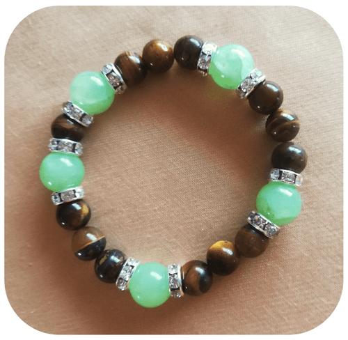 Bijoux - Parure Protection en Jade et Œil de Tigre (Bracelet, boucles d'oreilles, pendentifs)