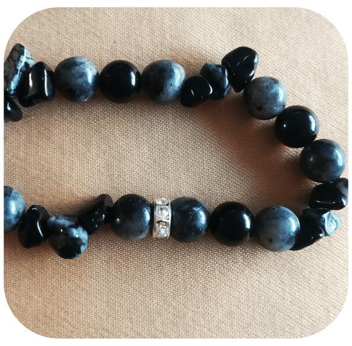 Bracelet - Obsidienne noire et flocon de neige, Labradorite