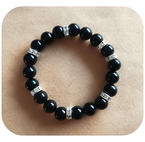 Bijoux - Parure Protection en Obsidienne noire (Bracelet, boucles d'oreilles, pendentifs)
