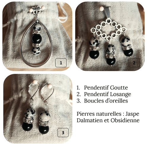 Bijoux - Parure - Jaspe Dalmatien et Obsidienne noire (Bracelet, boucles d'oreilles, pendentifs)
