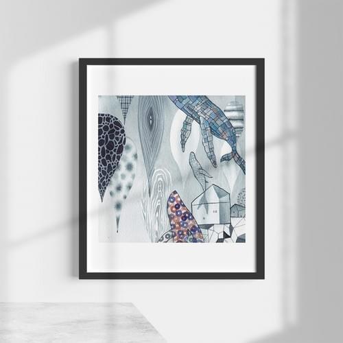 雨後鯨遊 - 複製畫不含框(10件)