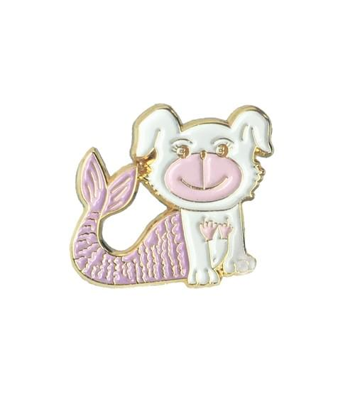 Merdoggo Pink Mermaid with Seashells Soft Enamel Pin