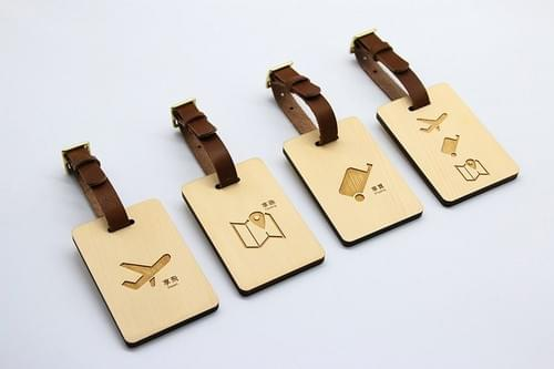 檜木居 加拿大檜木原木高質感行李吊牌✈ 與眾不同 歡迎客製化雷雕個人資料