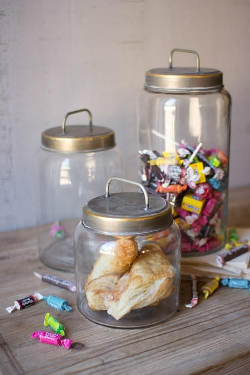 SET OF 3 GLASS JARS WITH BRASS TOPPERS