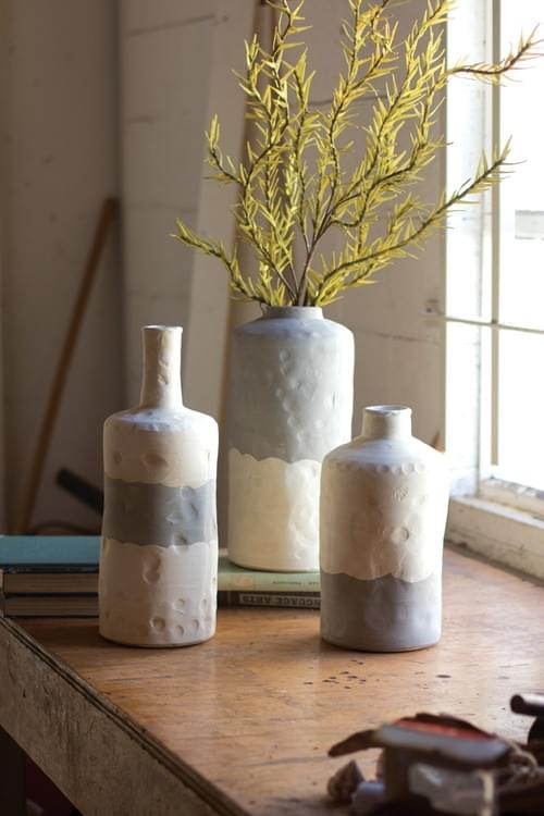 SET OF 3 CERAMIC BOTTLE VASES IN MATTE GREY + CREAM