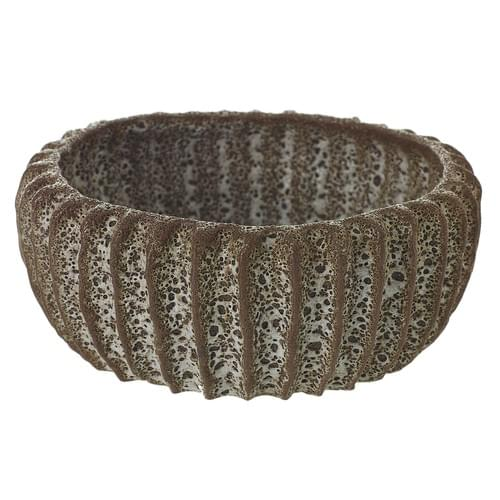 BROWN GLAZED TEXTURED BOWL