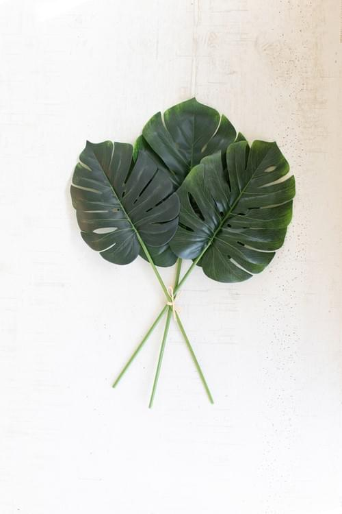 6 BUNDLES OF 3 FAUX MONSTERA LEAVES