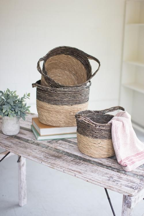 SET OF 3 TWO TONE WOVEN BASKETS