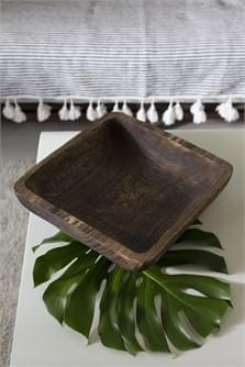 Hand carved wood tray