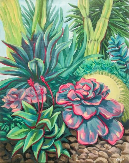 Colourful Succulents Painting