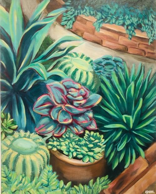 Succulent Garden Painting