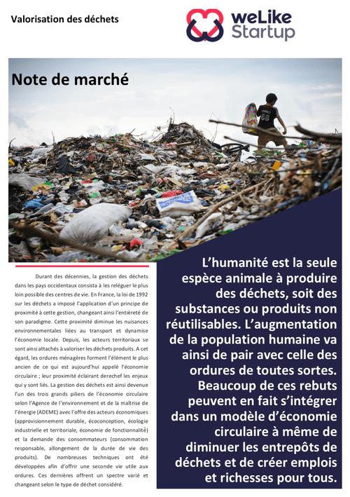 Valorisation des déchets - Note de marché (4 pages)