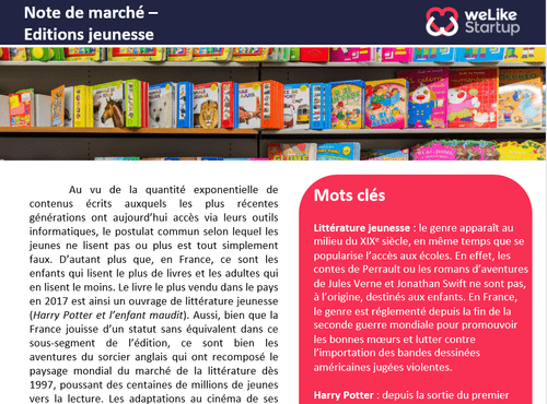 Editions jeunesse - Note de marché (4 pages)
