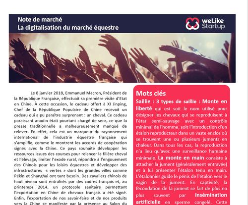 Digitalisation du marché équin - Note de marché        (4 pages)