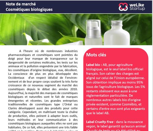 Cosmétiques biologiques - Note de marché (4 pages)