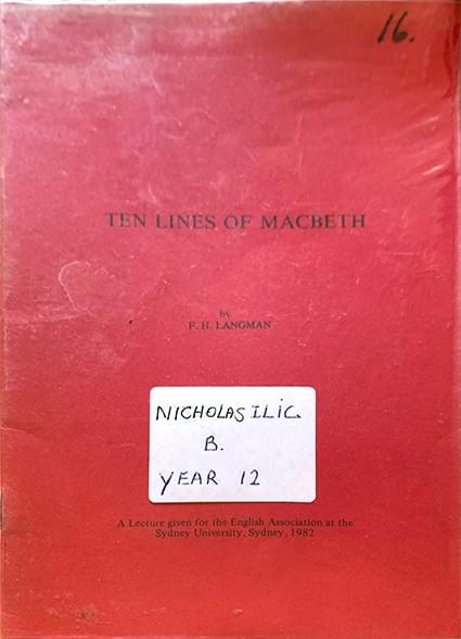 Ten Lines of Macbeth - Langman, F. H.