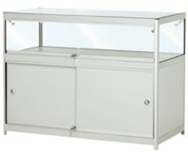 FCT1  Folding portable display counter with locking cupboard