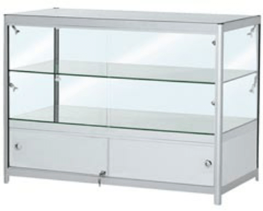 FCT2  Folding portable display counter with locking cupboard & glass shelf