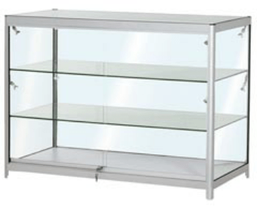 FCT3  Folding portable display counter with glass shelves