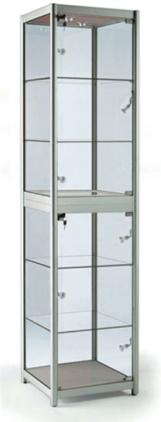 FS-500  Folding portable display cabinet with glass shelves