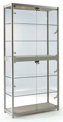 FS-800  Folding portable display cabinet with glass shelves