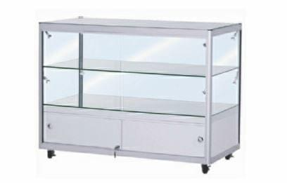 Glass Counter Cabinet with locking storage cupboard
