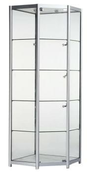 Glass Corner Display Cabinet with storage cupboard
