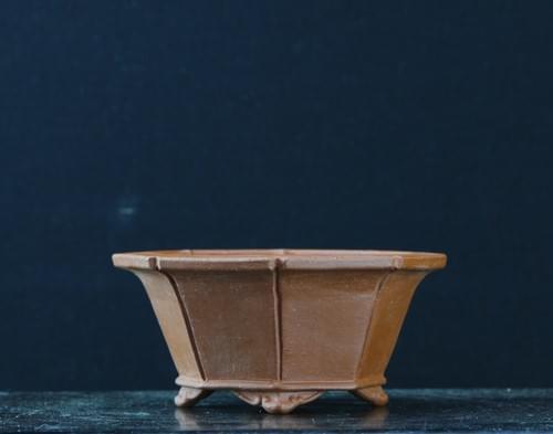 物故作家 渡辺正山 朱泥雲四足八角鉢