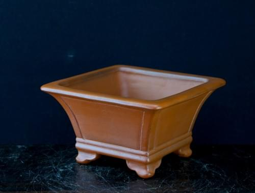 紅泥額面正方鉢 渡辺壱興