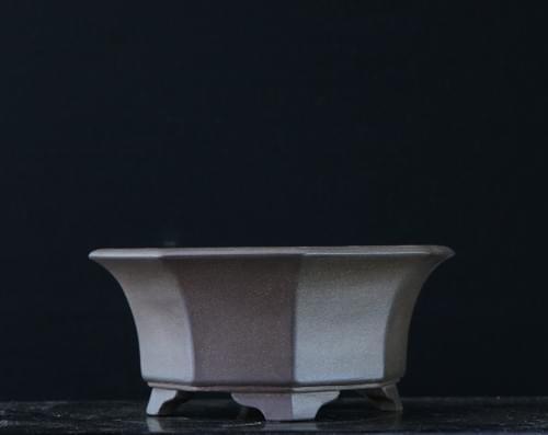紫泥外縁八角鉢 渡辺壱興