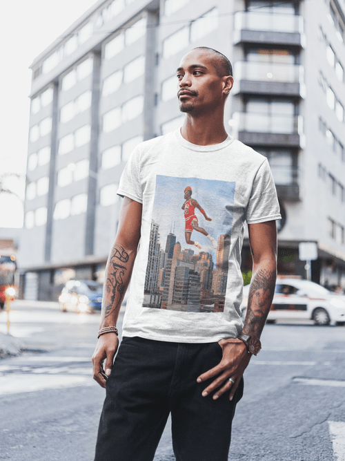 MJ Flying Over The City of Chicago T-Shirt