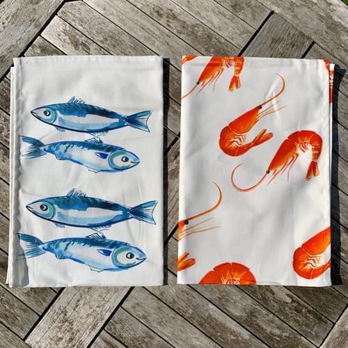 Pair of seaside tea towels