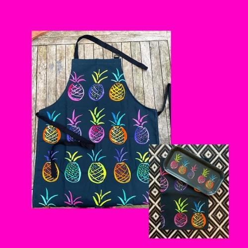 Apron gift set- Slate grey Pineapple