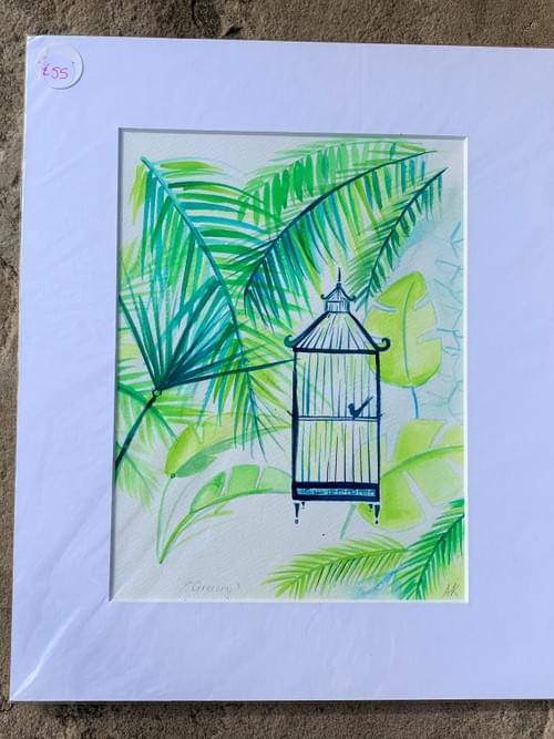 Blue Birdcage in Greenery