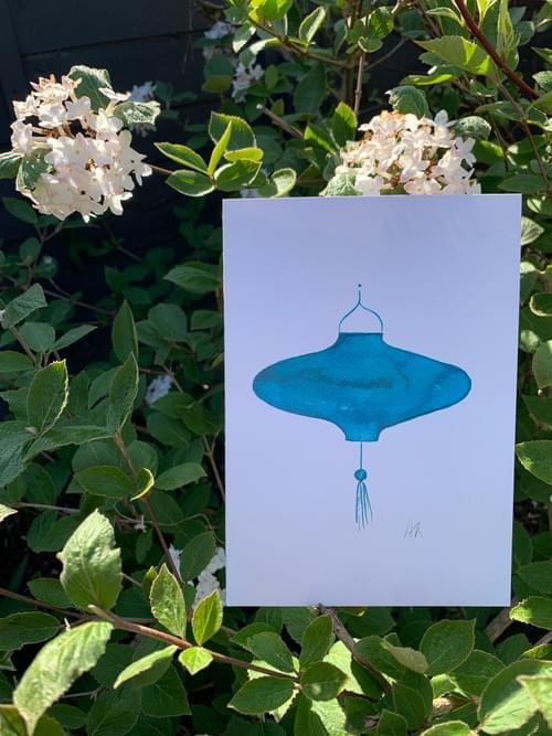 Blue lantern card