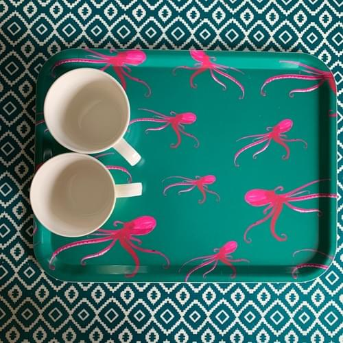 Pink Octopus tea towel - OH so
