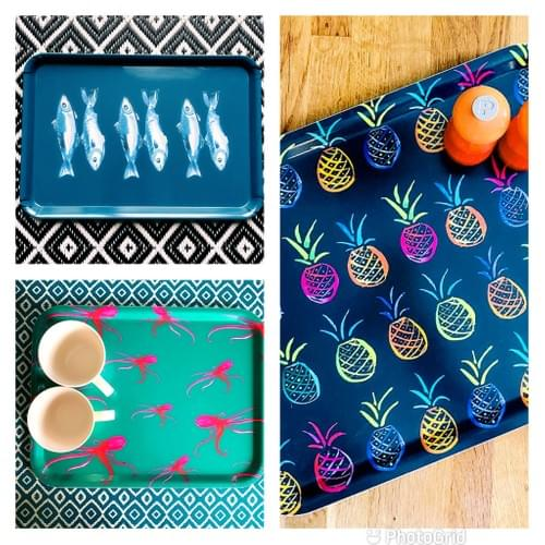 Octo/Pineappple Ttowel and Tray sets