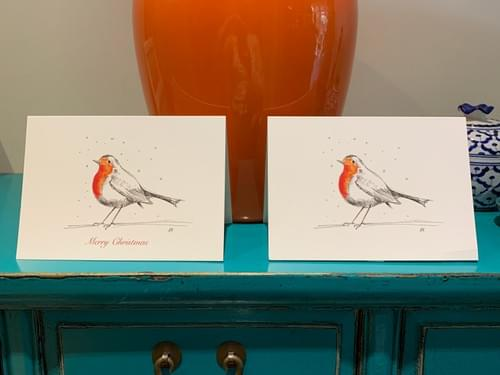 5 Pack CHRISTMAS Red Robin Cards - Choice of two designs!