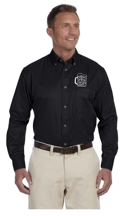 Harriton Easy Blend Long-Sleeve Twill Shirt with Stain Release