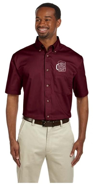 Harriton Easy Blend Short-Sleeve Twill Shirt with Stain-Release