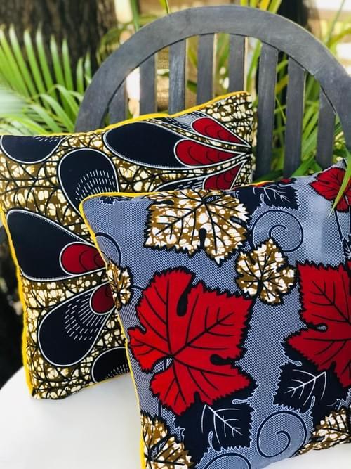 Maua Decorative Pillowcase, 18x18in Blue/red