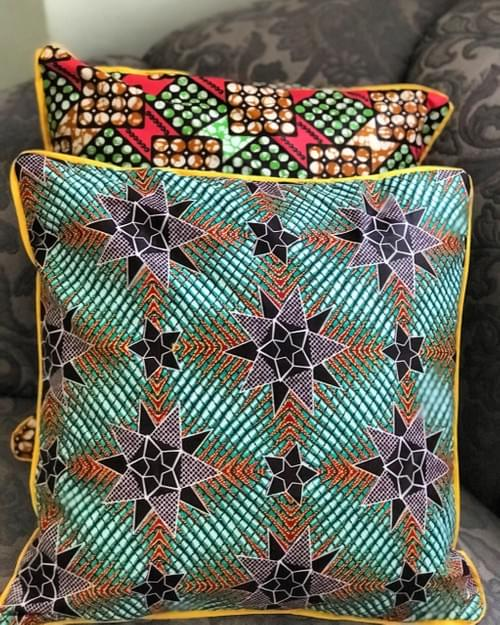 Nyota Decorative Pillowcase, 18x18in. | Green stars